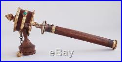 11.5 Copper with Gold Gilded Tibetan Buddhism Hand Held Prayer Wheel from Nepal