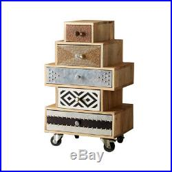 5 Drawer Chest on wheels Ultra Range made from Recycled Wood S01