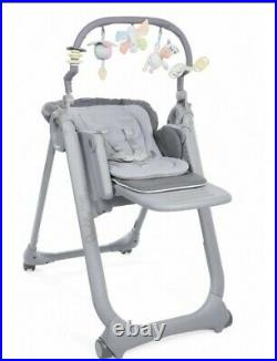 Chicco Polly Magic Relax Highchair GRAPHITE 4Wheel Suitable From Birth