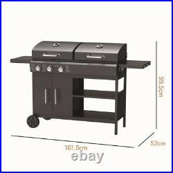 Dual Fuel-3 Burner Gas & Charcoal BBQ in Black. Delivery From 24th April