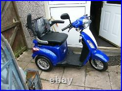 Green Power Zt500 blue 3 wheel mobility scooter. Used for one month only from new