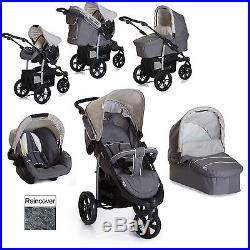 New Hauck Viper Trio Slx 3 Wheel Pushchair Travel System Smoke / Grey From Birth