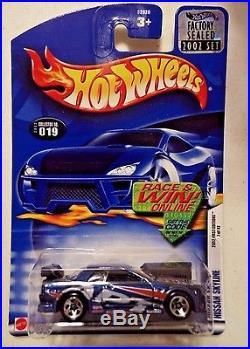 Super Rare! Hot Wheels 2002 #19 Blue Nissan Skyline From Factory Set! 1/1000
