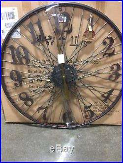 The Barrel Shack -The Victor Handmade Large Wall Clock from Bicycle Wheel-NEW