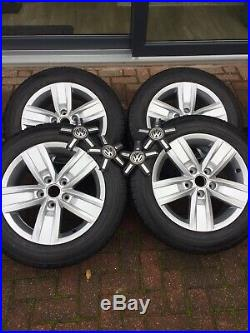 VW TRANSPORTER T6 T32 17 Alloy Wheels &Tyres Only 300 miles From New (x4)