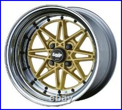 WORK EQUIP 03 Wheels GOLD 15x8.0J +7 4Hx114.3 set of 4 from JAPAN